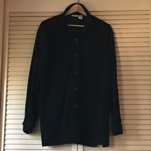 🖤 polyester oversized button-down